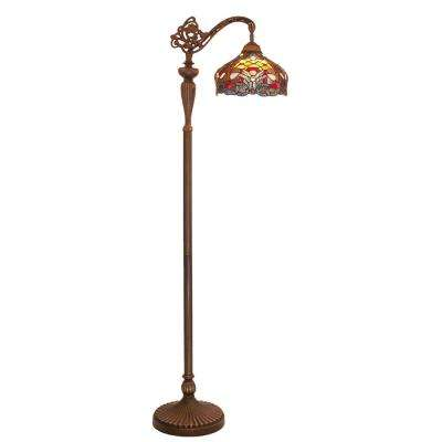 59 in. Multi-Colored Indoor Floor Lamp with Stained Glass Harvest Shade