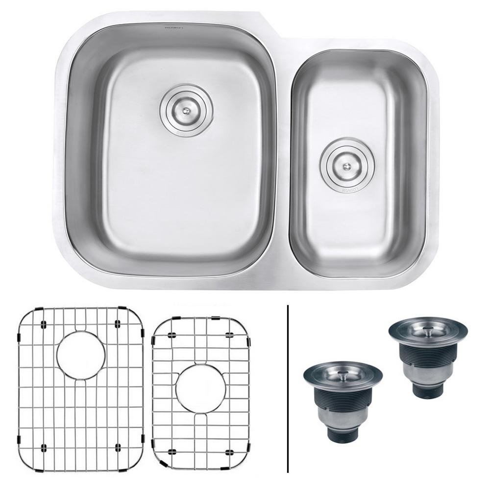 Ruvati Undermount Stainless Steel 29 in. 60/40 16-Gauge Double Bowl Kitchen Sink - Left Configuration, Brushed Stainless Steel With the beauty and functionality of large, deep bowls and classic rounded corners, the Parmi series will complement any kitchen. The gently curved corners ensure perfect water drainage, and makes it easy to keep the sink clean. The commercial grade brushed stainless finish hides scratches and blemishes and matches well with your other kitchen appliances. Color: Brushed Stainless Steel.