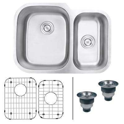 Undermount Stainless Steel 29 in. 60/40 16-Gauge Double Bowl Kitchen Sink - Left Configuration