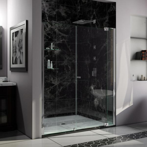 Allure 61 in. to 62 in. x 73 in. Semi-Frameless Pivot Shower Door in Chrome
