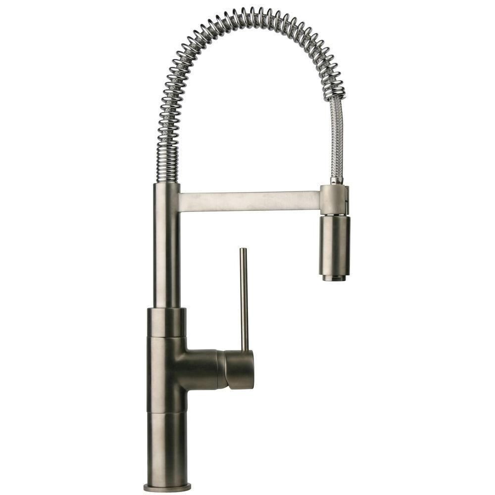 LaToscana Elba Single Handle Pull Down Sprayer Kitchen Faucet In Brushed  Nickel
