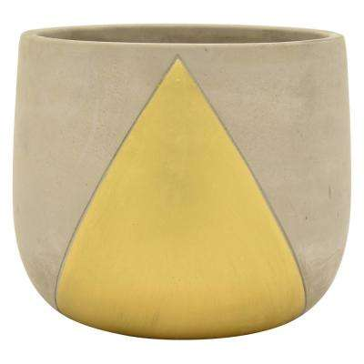 5 in. Planter - Grey/Gold