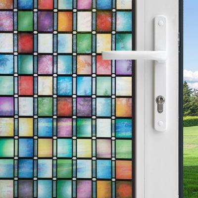 36 in. x 78 in. Privacy Control Stained Glass Atlantis Decorative Window Film