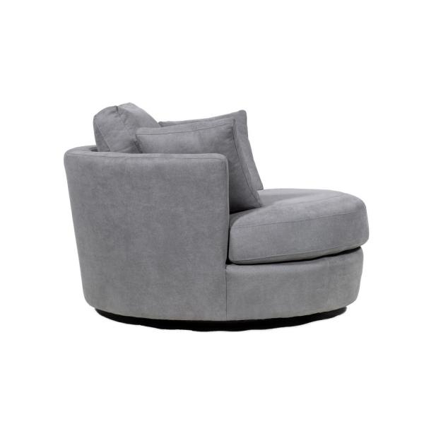 Fabric Swivel With Toss Pillows Round