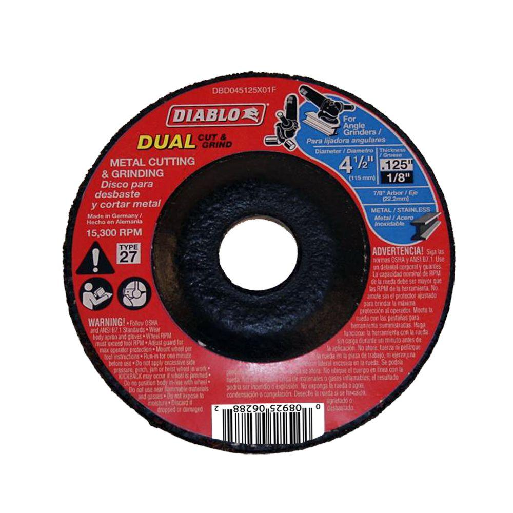 Diablo 4-1/2 in. x 1/8 in. x 7/8 in. Dual Metal Cutting and Grinding Disc with Type 27 Depressed Center