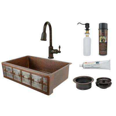 All-in-One Dual Mount Copper 33 in. Single Bowl Fleur De Lis Kitchen Sink with Faucet in ORB and Nickel