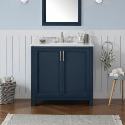 Sandon 36 in. W x 22 in. D Bath Vanity in Midnight Blue with Marble Vanity Top in Carrara White with White Basin