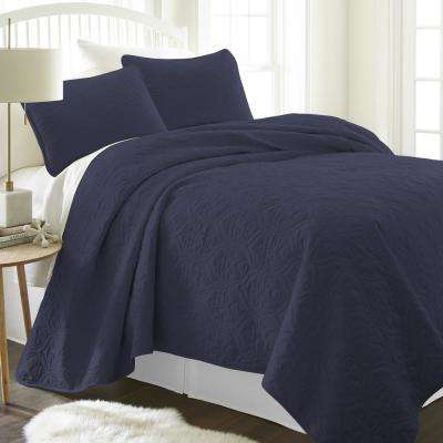 Damask Navy Twin Performance Quilted Coverlet Set