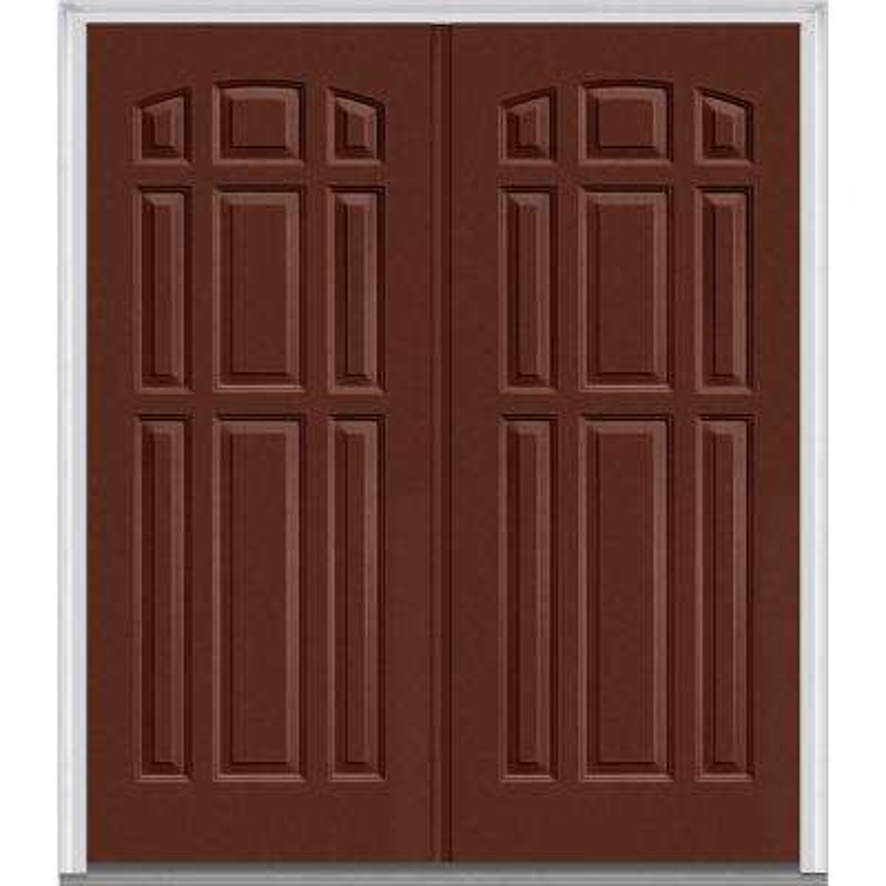74 in x 8175 in 9 panel painted fiberglass smooth exterior double door