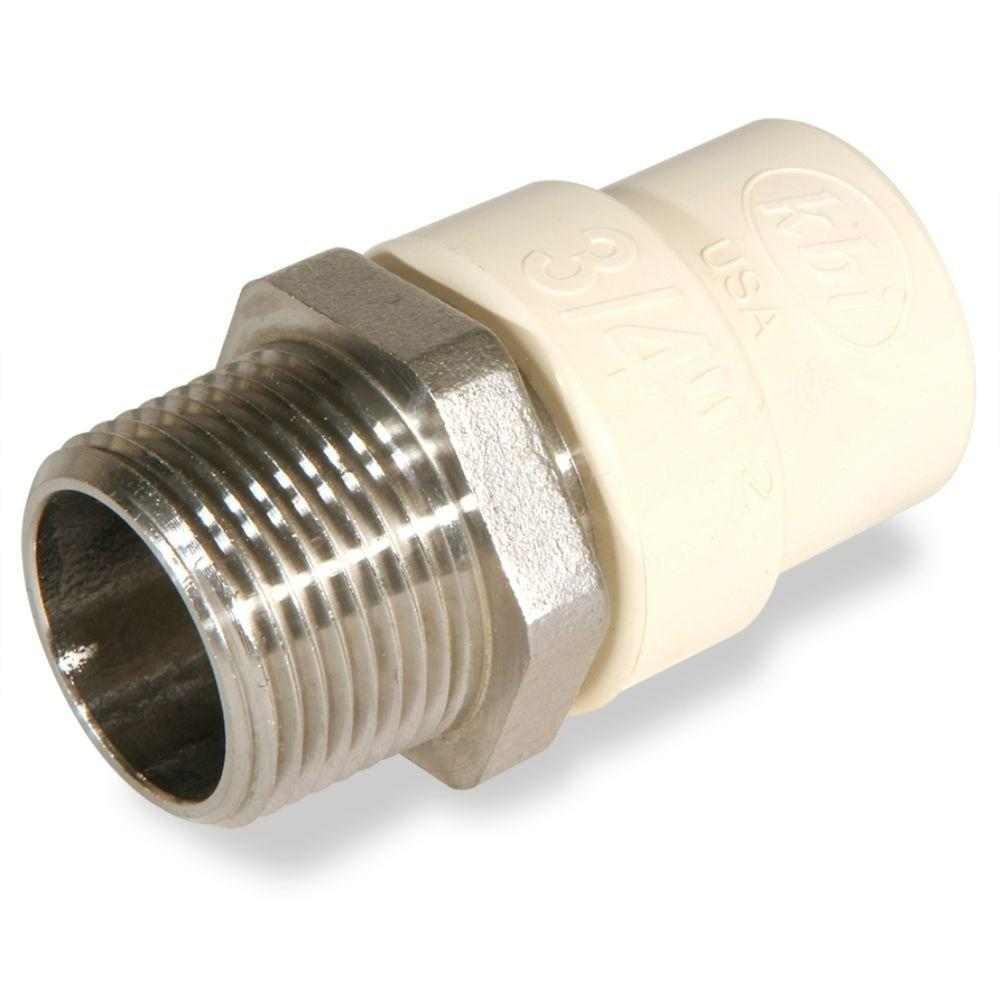KBI 1 in. CPVC CTS MPT x Socket Lead Free Stainless Steel Transition Adaptor