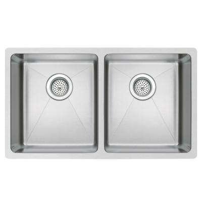 Undermount Small Radius Stainless Steel 31.in 0-Hole Double Bowl Kitchen Sink in Satin Finish