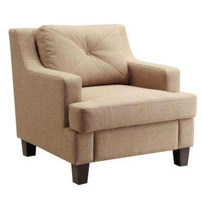 Emerson Tan Linen Tufted Arm Chair