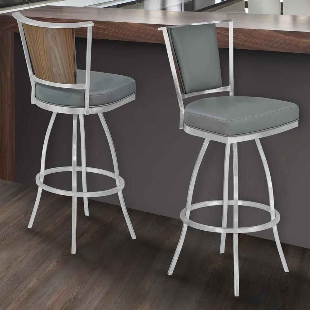 Armen Living Delhi 30 In Gray Faux Leather And Brushed Stainless Steel Finish Barstool