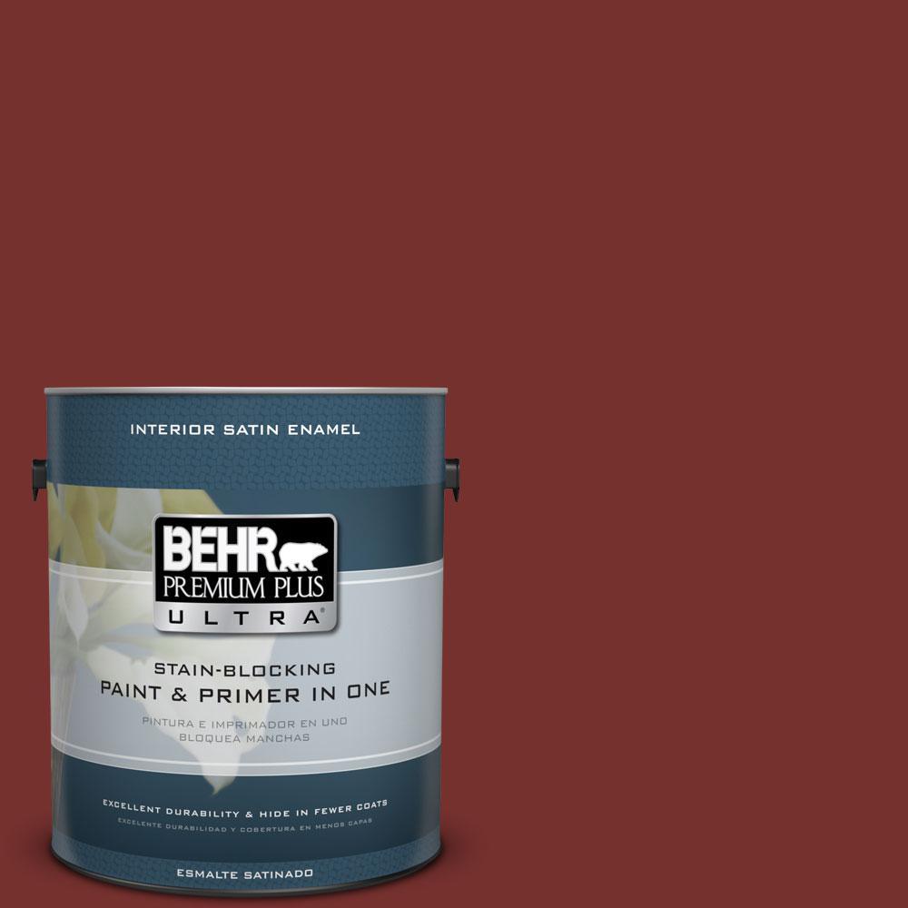 BEHR Premium Plus Ultra 1-gal. #ECC-15-3 Cherry Bark Satin Enamel Interior Paint