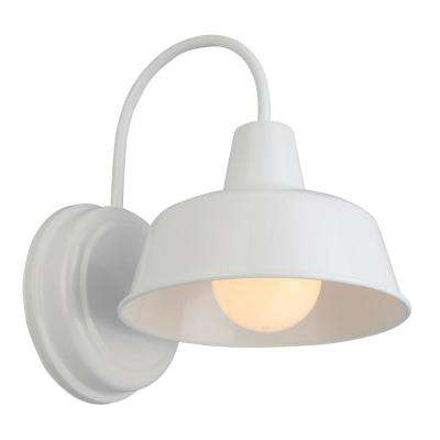 Mason 1-Light White Outdoor Wall Sconce