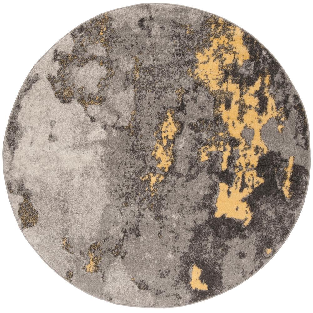 Adirondack Gray Yellow 6 Ft X Round Area Rug