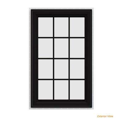 36 in. x 48 in. V-4500 Series Black FiniShield Vinyl Right-Handed Casement Window with Colonial Grids/Grilles