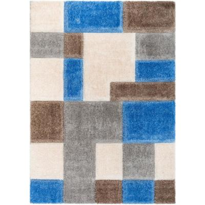 San Francisco Escondido Modern Geometric Boxes Shag Light Blue 7 ft. 10 in. x 9 ft. 10 in. 3D Textured Area Rug