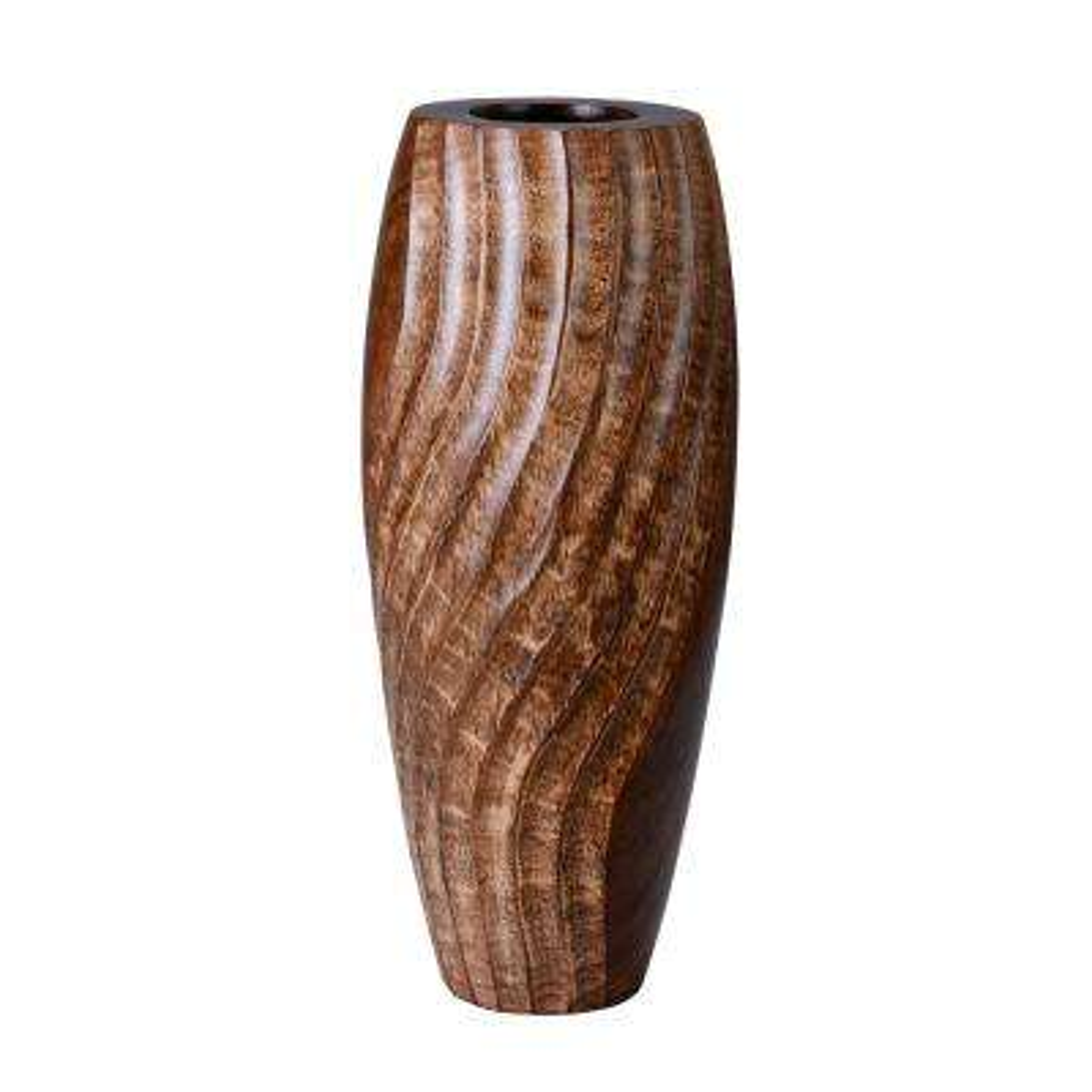 14 in. Brown Tall Handmade Decorative Mango Wood Swirl Vase