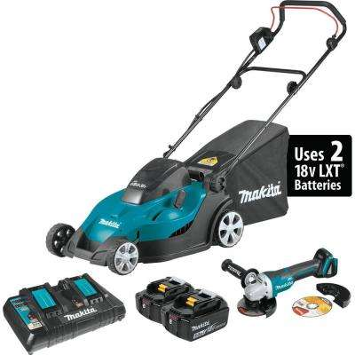 17 in. 18-Volt X2 (36-Volt) LXT Lithium-Ion Battery Cordless Walk Behind Lawn Push Mower Kit Brushless Angle Grinder