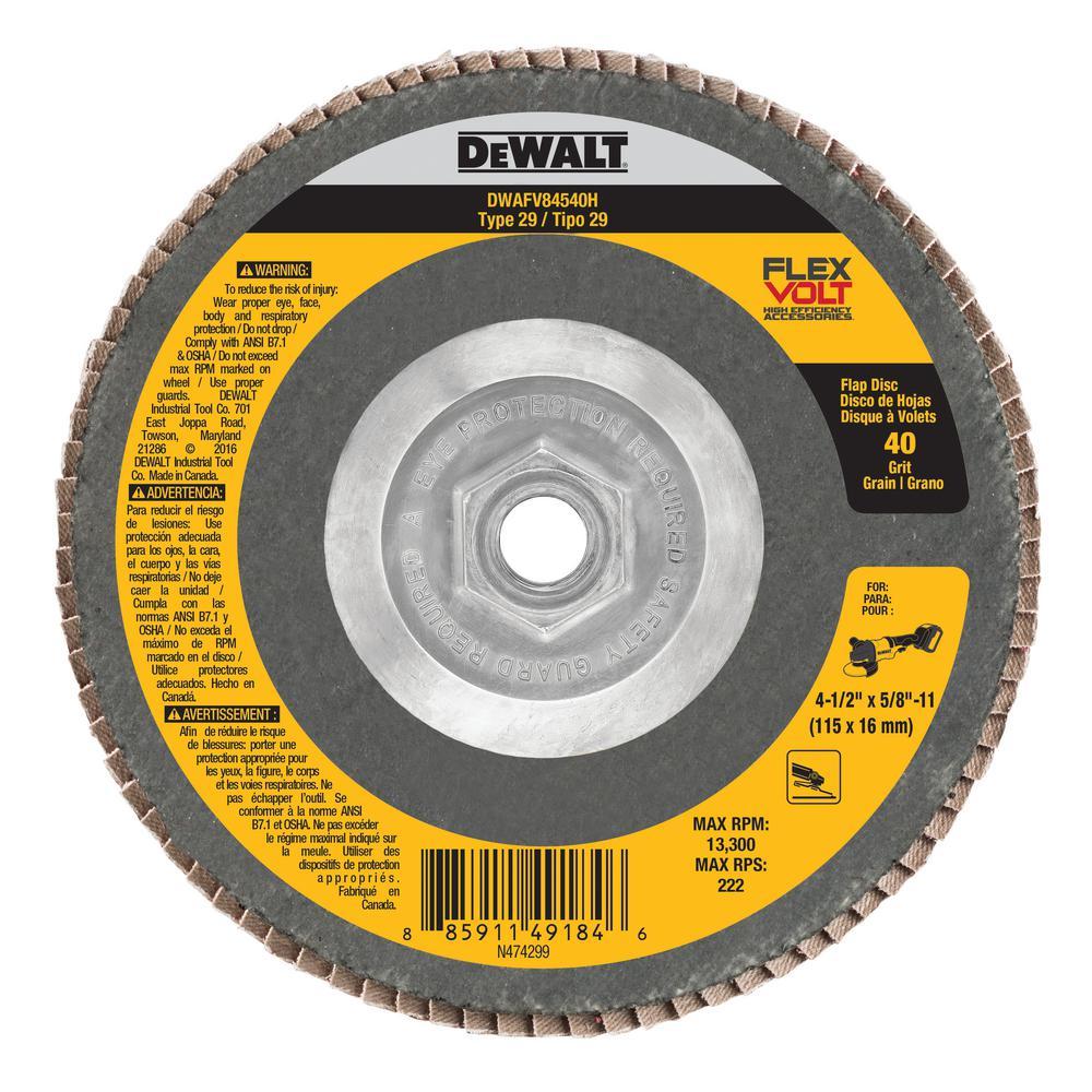 FLEXVOLT 4-1/2 in. x 5/8 in. - 11 40 Grit Flap Disc Type 29