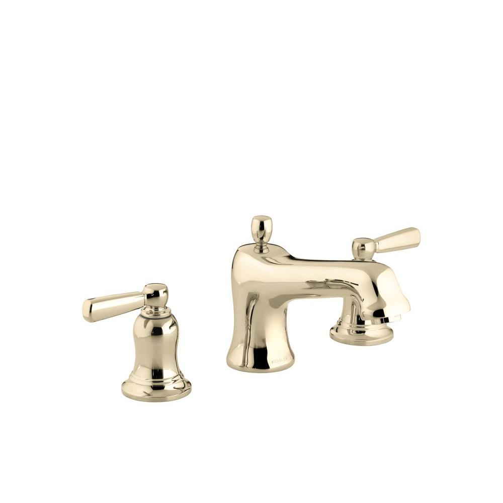 KOHLER Bancroft Deck-Mount Bath Faucet Trim with Metal Lever Handles in Vibrant French Gold (Valve Not Included)