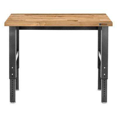 Premier Series 42 in. H x 48 in. W x 25 in. D Maple Top Adjustable Height Workbench in Hammered Granite