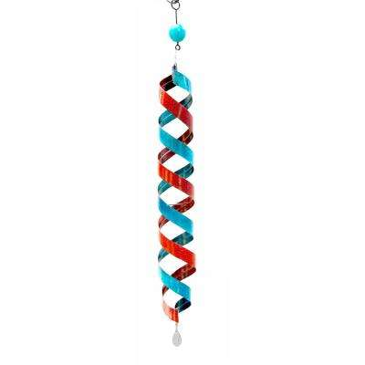 40 in. Red and Blue Swirl Metal Decor