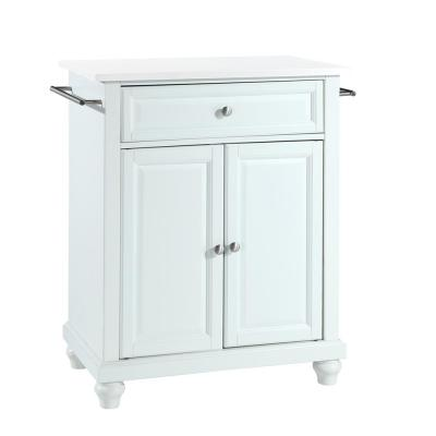 Cambridge White Portable Kitchen Island with Granite Top