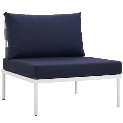 Harmony Armless Aluminum Outdoor Patio Lounge Chair in White with Navy Cushions