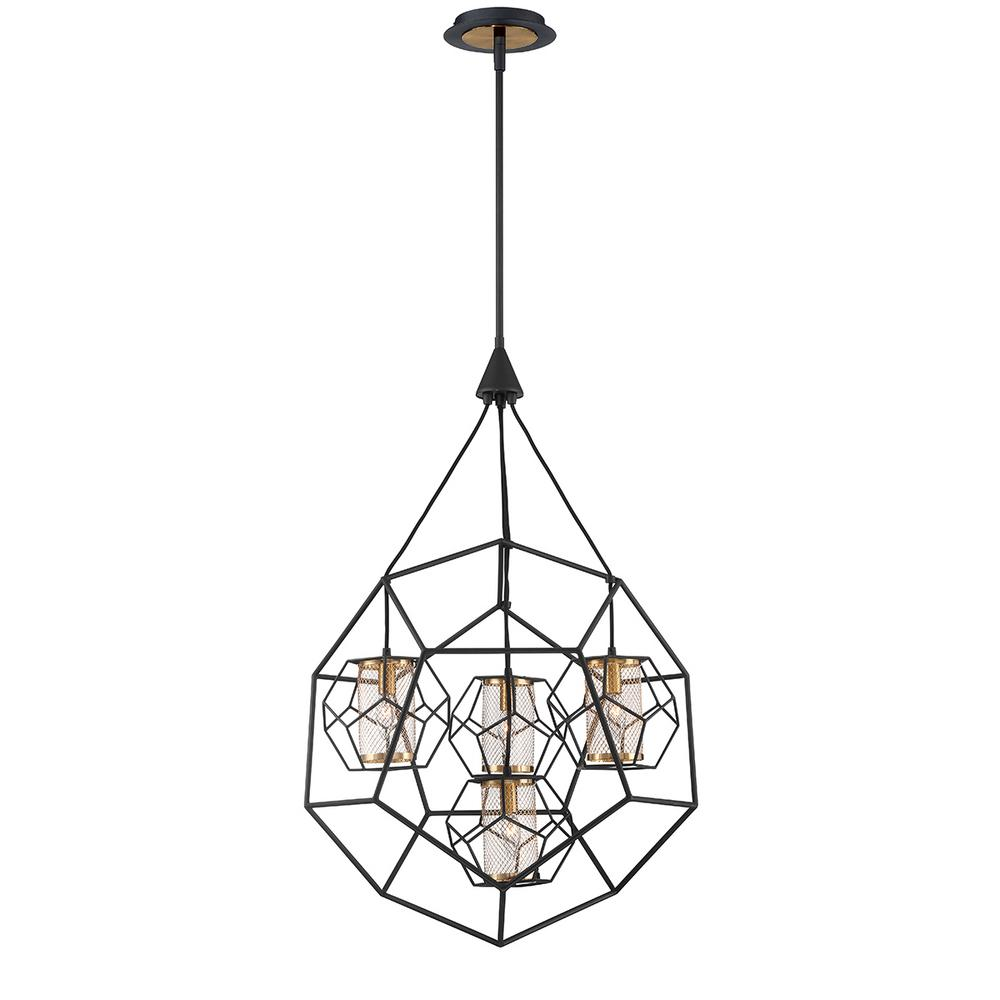 Eurofase Bettino 4-Light Black Chandelier with Brass Wire Cage Shade ...