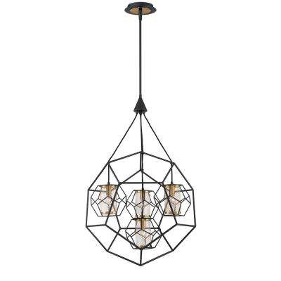 Bettino 4-Light Black Chandelier with Brass Wire Cage Shade