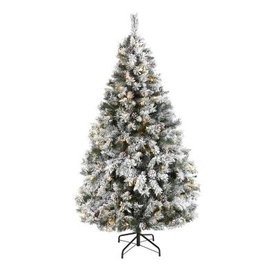 6 ft. White Pre-Lit Flocked River Mountain Pine Artificial Christmas Tree with Pine Cones and 250 Clear LED Lights