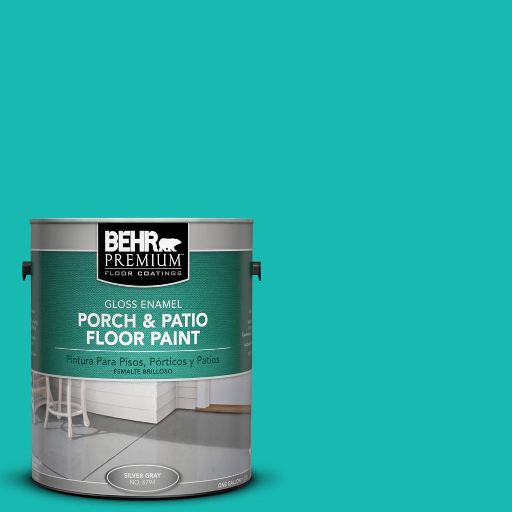 1 gal. #P450-5 Island Aqua Gloss Interior/Exterior Porch and Patio Floor Paint
