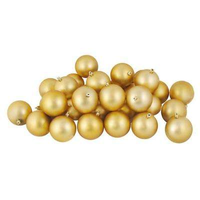 Matte Vegas Gold Shatterproof Christmas Ball Ornaments (32-Count)
