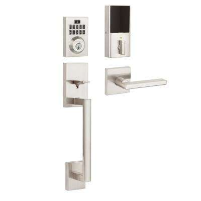 SmartCode 913 Contemporary Satin Nickel Electronic Deadbolt with San Clemente Handleset and Halifax Interior Lever