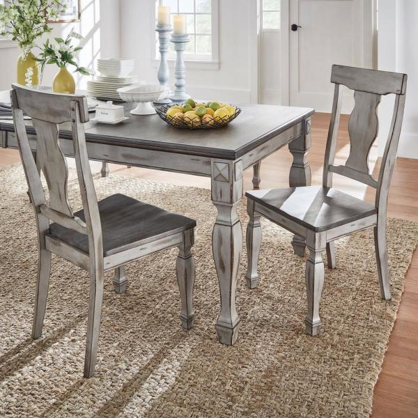 HomeSullivan 2-Tone Coffee and Antique Grey Side Chair (Set of 2)