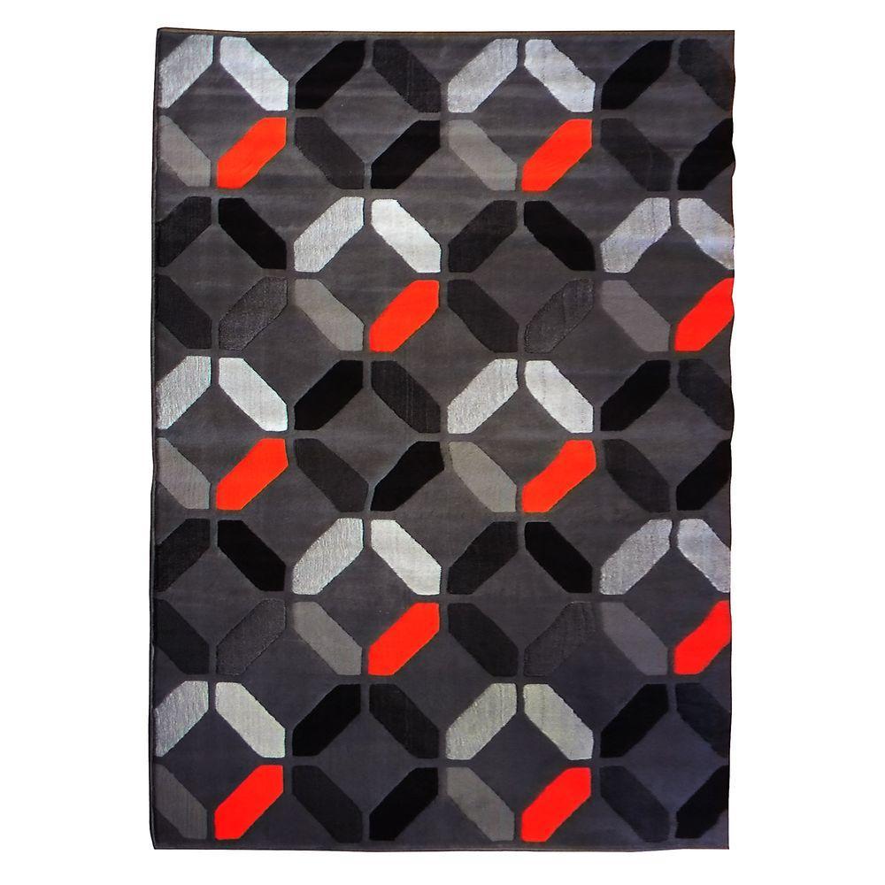 Trendz Geometric Pattern Design Gray 5 ft. x 7 ft. Indoor Area Rug