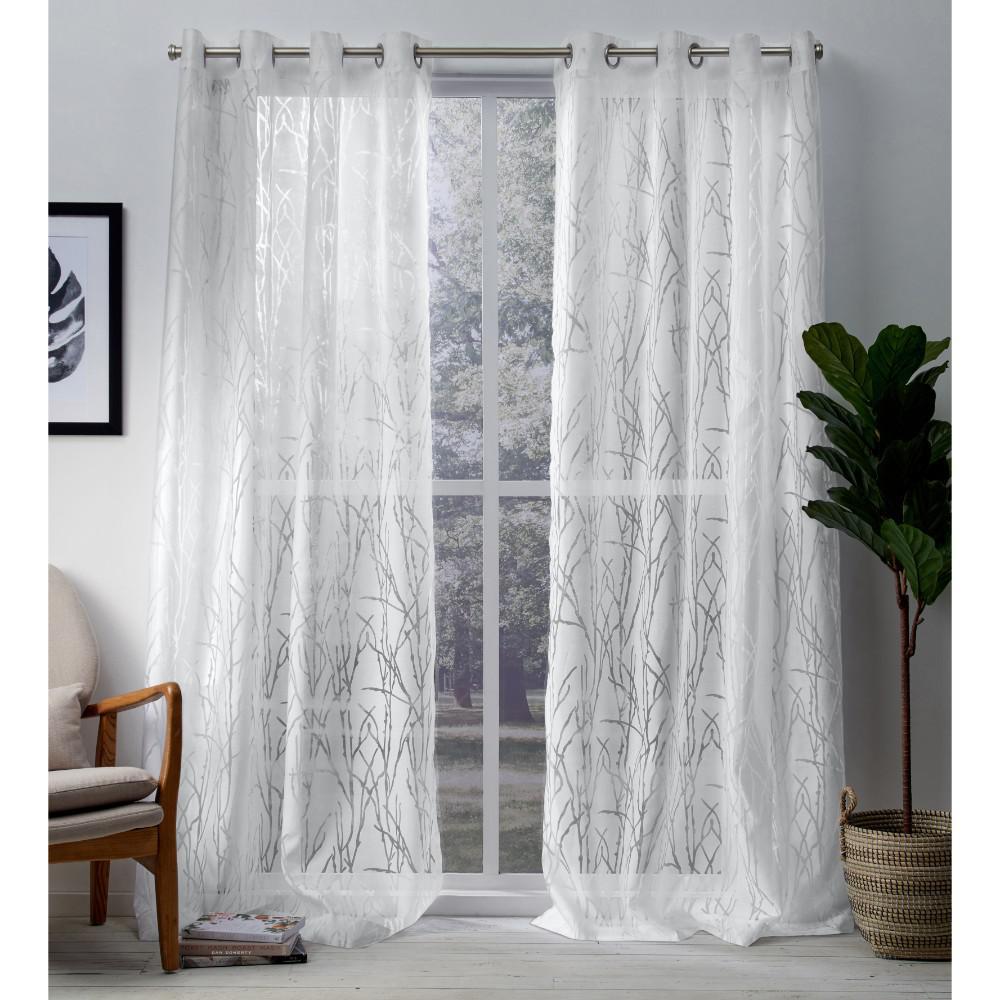 Edinburgh Winter White Sheer Branch Burnout Grommet Top Window Curtain