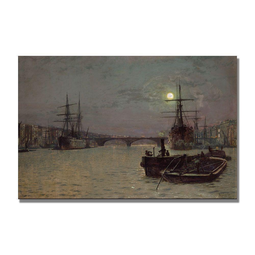 Trademark Fine Art 22 in. x 32 in. London Bridge, Half Tide Canvas Art