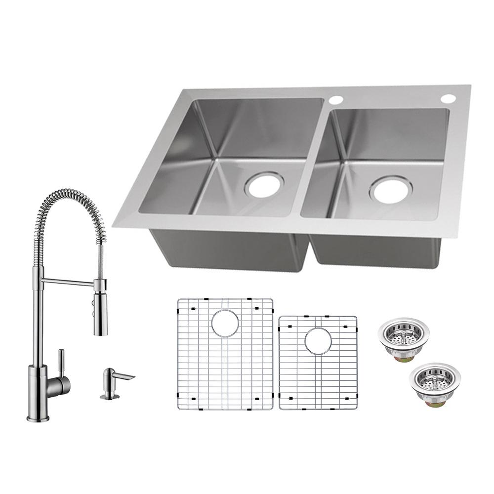 glacier bay dual mount 18 gauge stainless steel 33 in 2 hole 60 40 rh homedepot com glacier bay kitchen sink drain glacier bay kitchen sink accessories
