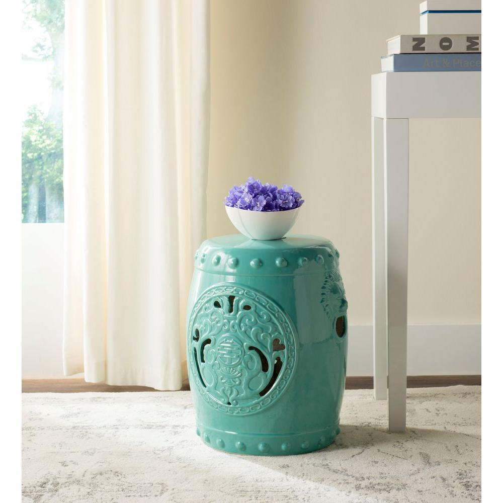Safavieh Dragon Coin Light Blue Patio Stool