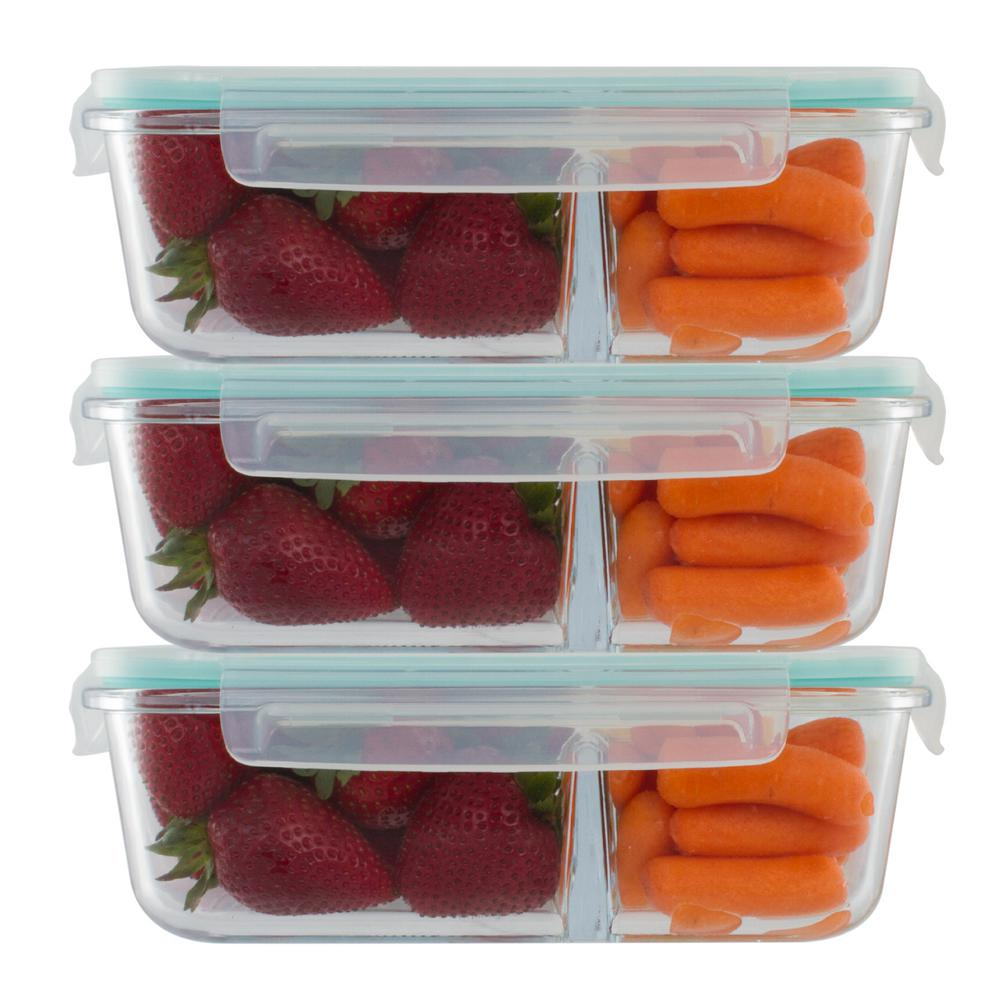 Imperial Home 3 Piece 51 oz Glass 3 Compartment Meal Prep