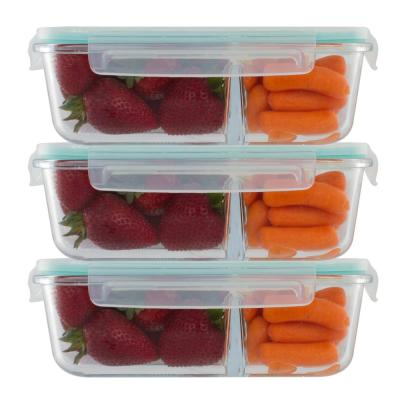 3-Piece 51 oz. Glass 3-Compartment Meal Prep Containers