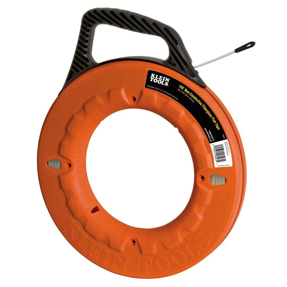 klein tools 100 ft non conductive fiberglass fish tape 56023 the rh homedepot com Harbor Freight Fish Tape Greenlee Fish Tape