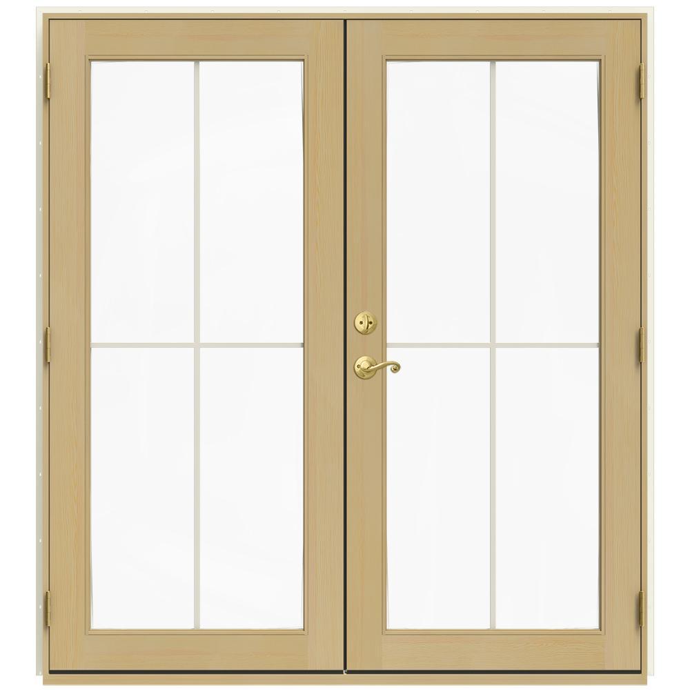 72 in. x 80 in. W-2500 Vanilla Clad Wood Left-Hand 4 Lite French Patio Door w/Unfinished Interior