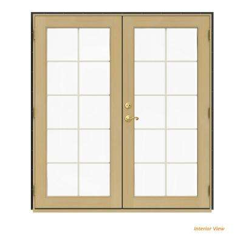 72 in. x 80 in. W-2500 Bronze Clad Wood Left-Hand 10 Lite French Patio Door w/Unfinished Interior