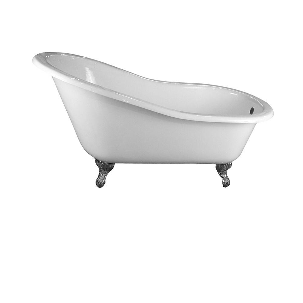 Pegasus 5 ft. Cast Iron Ball and Claw Feet Slipper Tub in White