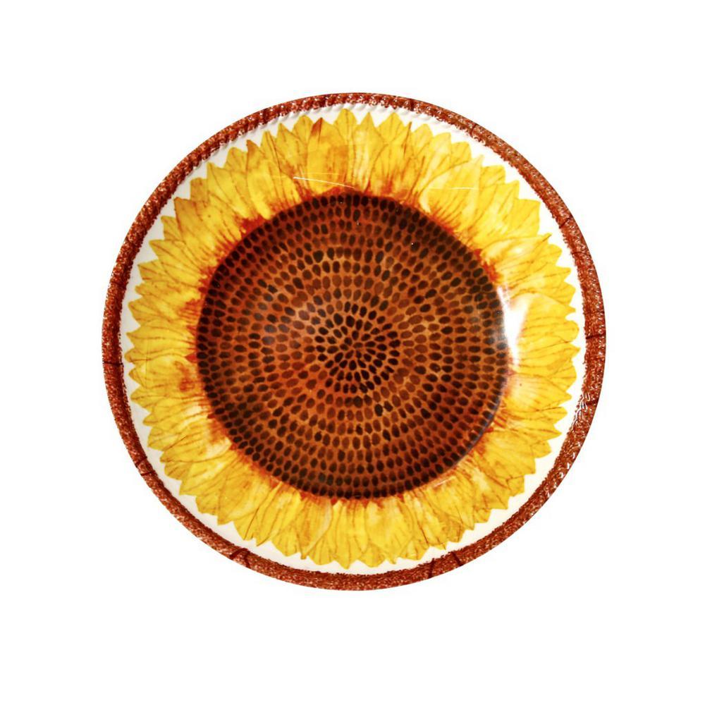 Botanical Yellow/White Melamine Sunflower Shallow Bowl