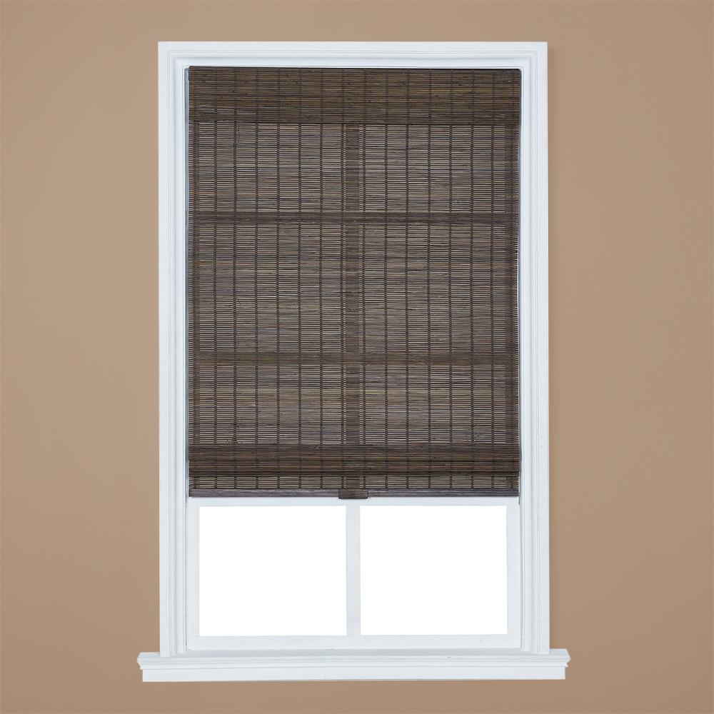 Home Basics Dark Olive Brown Cordless Light Filtering Bamboo Roman Shade 23 In W X 64 L